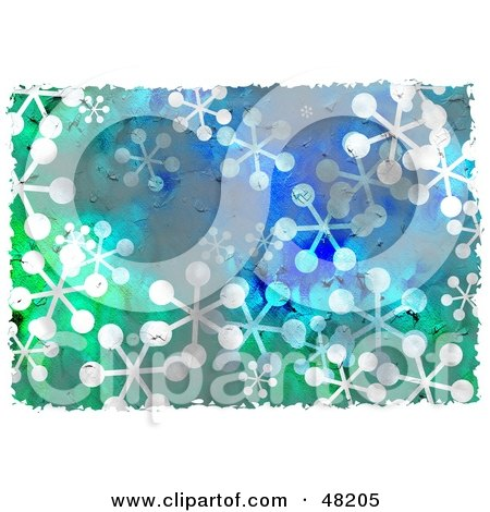 Royalty-Free (RF) Clipart Illustration of a Grungy Background Of Snowflakes by Prawny
