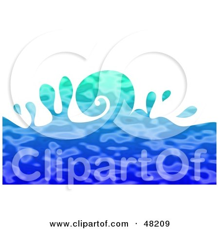 Royalty-Free (RF) Clipart Illustration of a Curling Blue Rippling Ocean Wave On White by Prawny