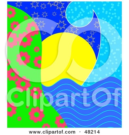 Royalty-Free (RF) Clipart Illustration of a Blue Wave Framing A Scene Of The Sun Setting Over The Water by Prawny