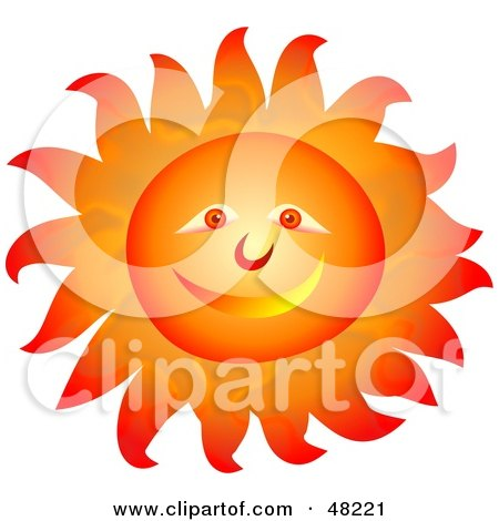 Royalty-free clipart picture of a smiley sun face with blazing hot rays,