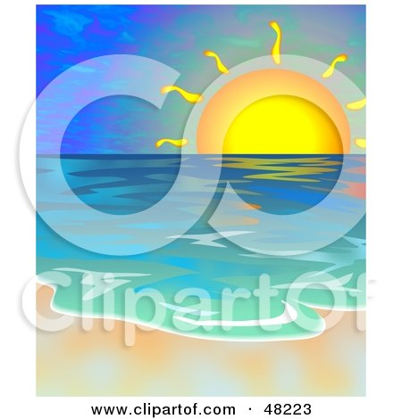 Royalty-Free (RF) Clipart Illustration of a Beautiful Sunset Over The Ocean With The Surf Washing Up On The Shore by Prawny
