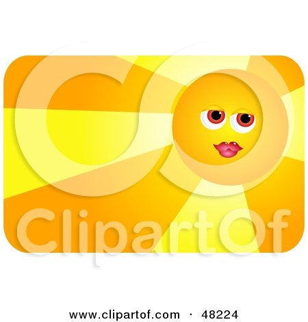 Royalty-Free (RF) Clipart Illustration of a Pretty Female Sun Face Wearing Lipstick And Casting Light by Prawny