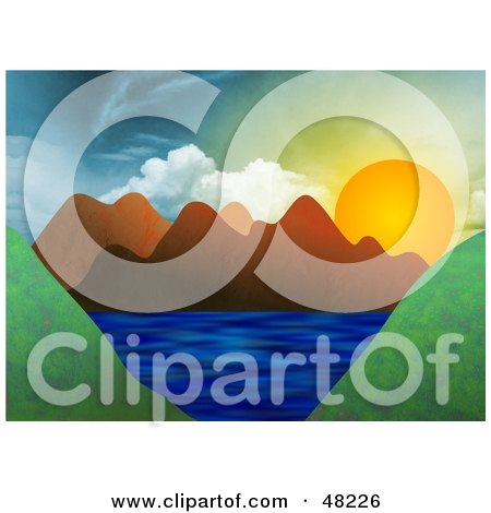 Royalty-Free (RF) Clipart Illustration of The Sun Setting Behind Mountains Around A Lake by Prawny