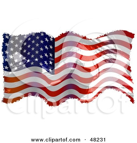 Royalty-Free (RF) Clipart Illustration of a Waving American Flag Grunge Background On White by Prawny