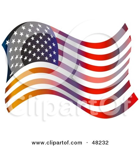 Royalty-Free (RF) Clipart Illustration of a Flapping American Flag on White by Prawny