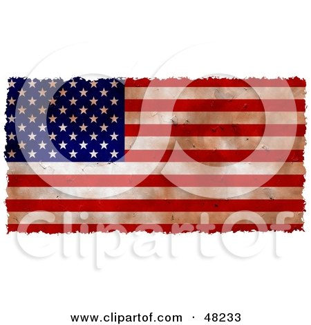 Royalty-Free (RF) Clipart Illustration of a Grungy American Flag Background Bordered In White by Prawny
