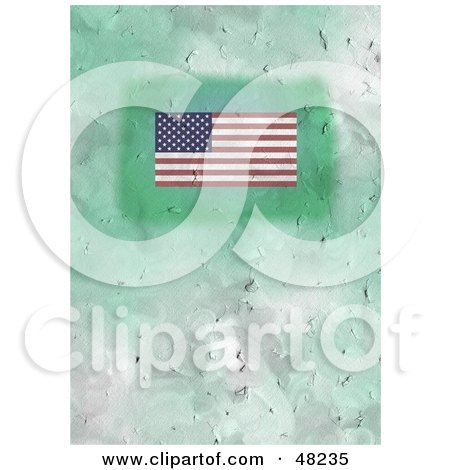 Royalty-Free (RF) Clipart Illustration of a Green Textured American Flag Background by Prawny