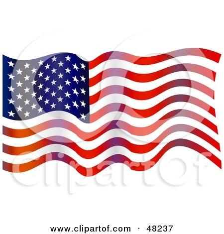 Clipart Wavy American Flag Patterned USA