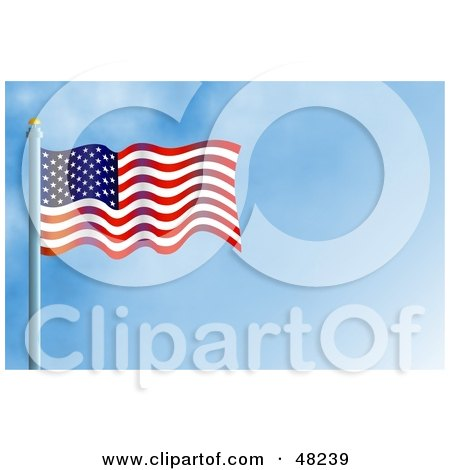 Royalty-Free (RF) Clipart Illustration of a Waving American Flag Against A Blue Sky by Prawny