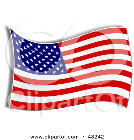 Royalty-Free (RF) Clipart Illustration of a Waving American Flag With A Shadow On White by Prawny