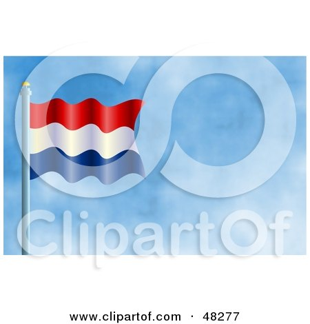 Royalty-Free (RF) Clipart Illustration of a Waving Holland Flag Against A Blue Sky by Prawny