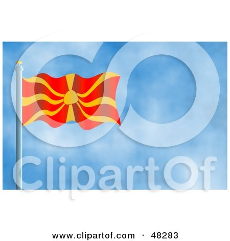 Royalty-Free (RF) Clipart Illustration of a Waving Macedonia Flag Against A Blue Sky by Prawny