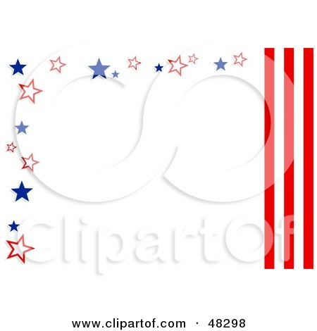 Royalty-Free (RF) Clipart Illustration of a White Background Bordered In American Stars And Stripes by Prawny