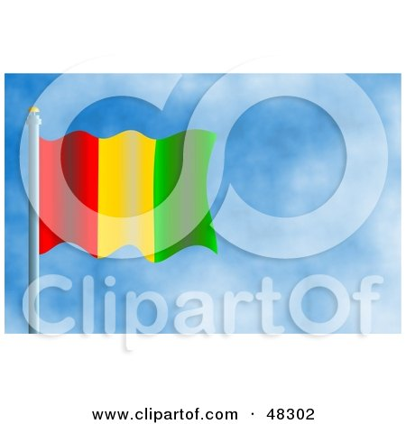Royalty-Free (RF) Clipart Illustration of a Waving Guinea Flag Against A Blue Sky by Prawny