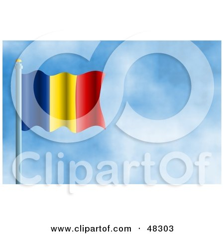 Royalty-Free (RF) Clipart Illustration of a Waving Romania Flag Against A Blue Sky by Prawny