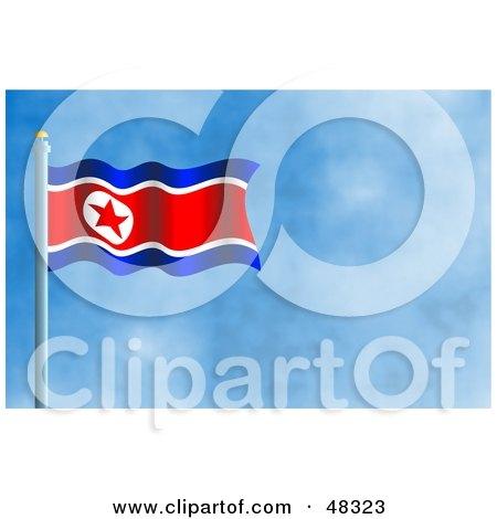 north korea flag pole. north korea flag meaning.