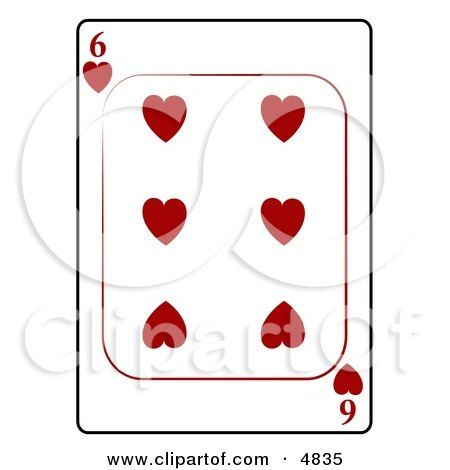 Six/6 of Hearts Playing Card Clipart by djart