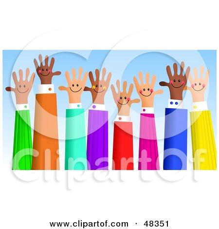 Royalty-Free (RF) Clipart Illustration of a Diverse Group of Handy Hands Waving by Prawny