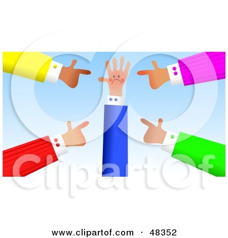 Royalty-Free (RF) Clipart Illustration of Handy Hands Blaming Another by Prawny