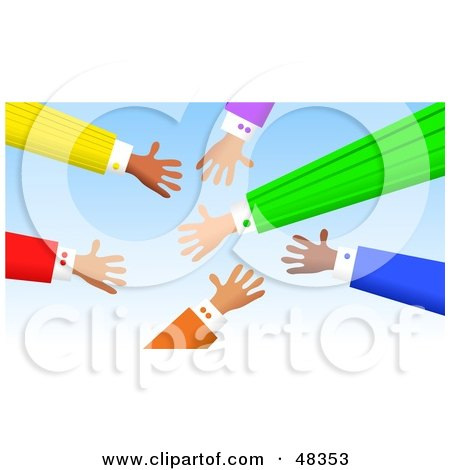 Royalty-Free (RF) Clipart Illustration of Handy Hands Reaching Out for Deals by Prawny
