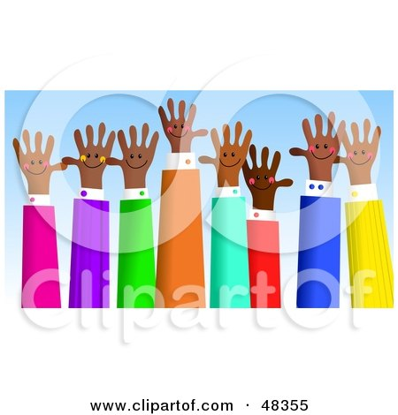 Royalty-Free (RF) Clipart Illustration of an Asian Group of Handy Hands Waving by Prawny
