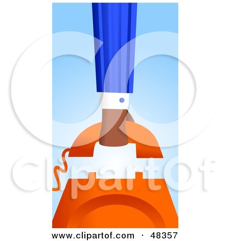 Royalty-Free (RF) Clipart Illustration of a Handy Hand Hanging Up A Phone by Prawny