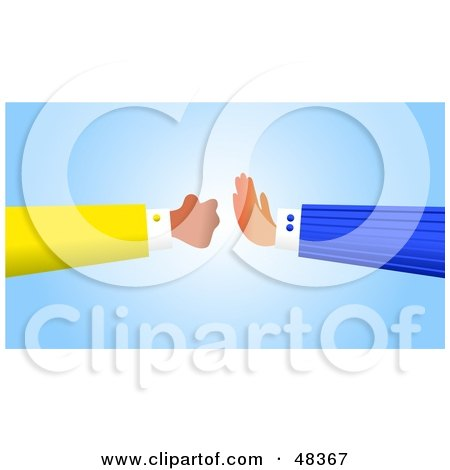 Royalty-Free (RF) Clipart Illustration of a Handy Hand Stopping a Fist by Prawny