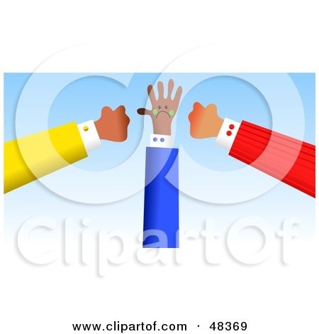 Royalty-Free (RF) Clipart Illustration of Two Handy Hands Ganging up on Another by Prawny