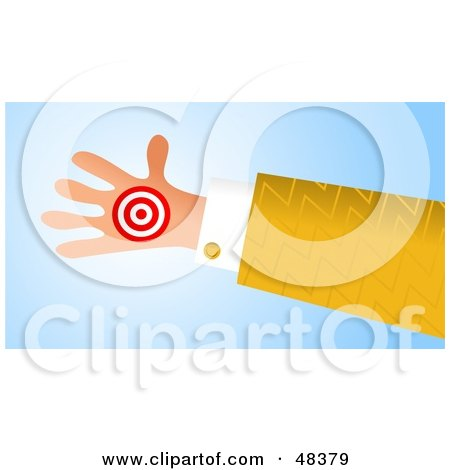 Royalty-Free (RF) Clipart Illustration of a Handy Hand Holding A Target by Prawny