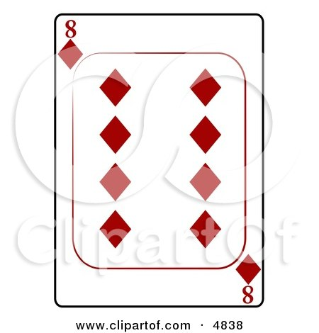 Eight/8 of Diamonds Playing Card Clipart by djart