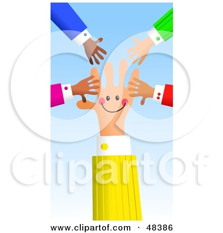 Royalty-Free (RF) Clipart Illustration of a Handy Hand Surrounded by Others by Prawny