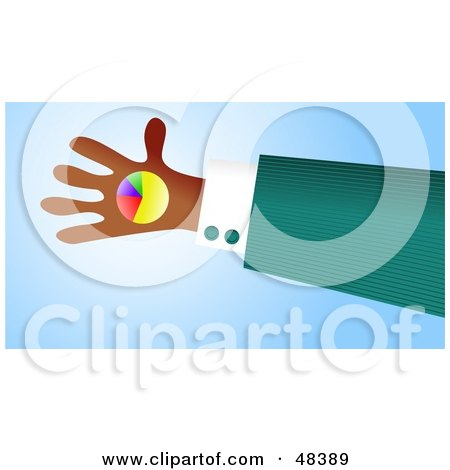 Royalty-Free (RF) Clipart Illustration of a Handy Hand Holding A Pie Chart by Prawny