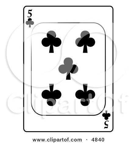Five/5 of Clubs Playing Card Clipart by djart
