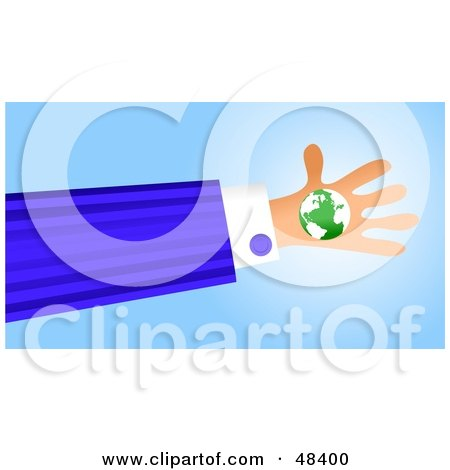 Royalty-Free (RF) Clipart Illustration of a Handy Hand Holding A Globe by Prawny