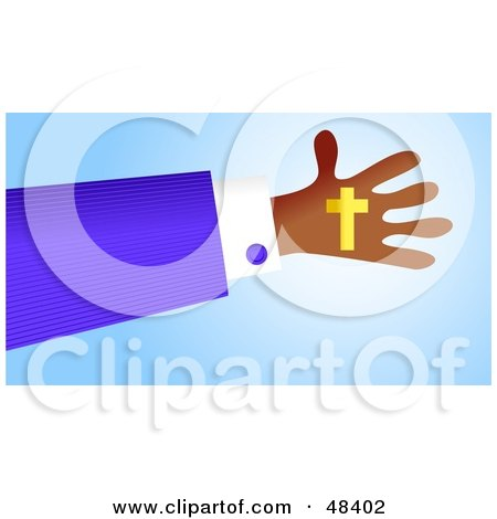 Royalty-Free (RF) Clipart Illustration of a Handy Hand Holding A Christian Cross by Prawny