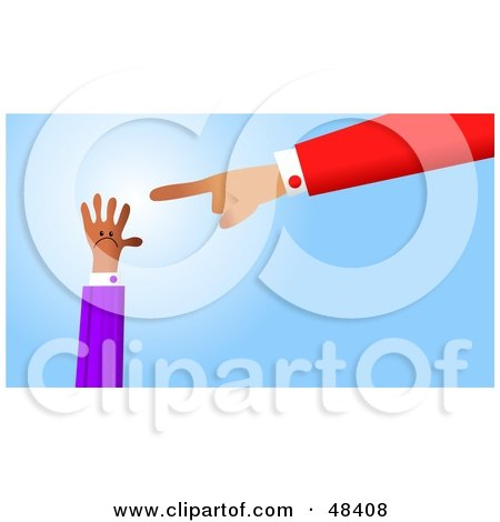 Royalty-Free (RF) Clipart Illustration of a Handy Hand Pointing at a Smaller Hand by Prawny