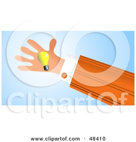 Royalty-Free (RF) Clipart Illustration of a Handy Hand Holding A Light Bulb by Prawny