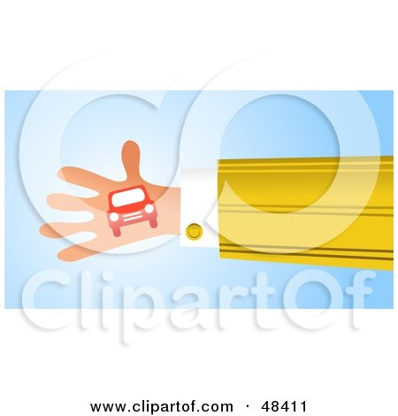 Royalty-Free (RF) Clipart Illustration of a Handy Hand Holding A Car by Prawny