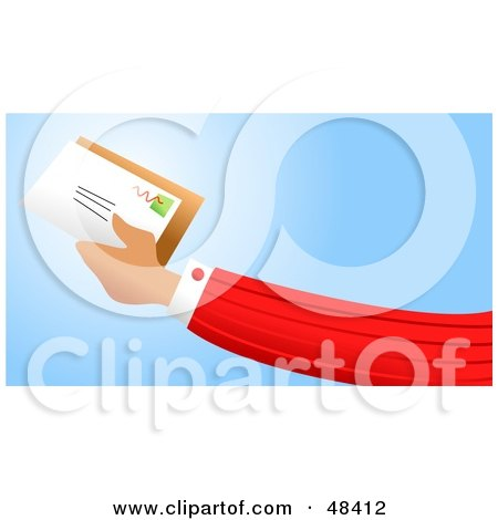 Royalty-Free (RF) Clipart Illustration of a Handy Hand Holding Mail by Prawny