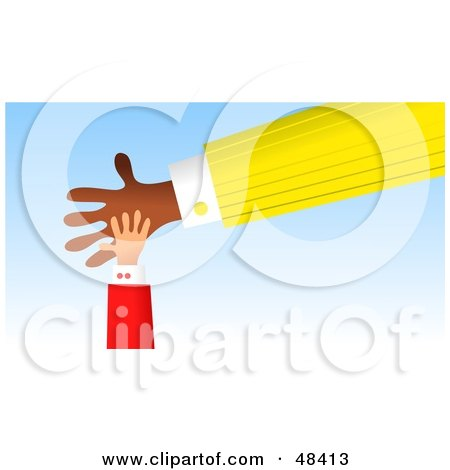 Royalty-Free (RF) Clipart Illustration of a Little Handy Hand Resting on a Big Hand by Prawny