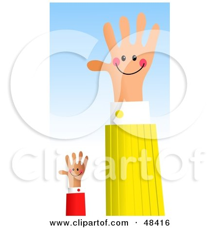Royalty-Free (RF) Clipart Illustration of a Handy Hand And Assistant Waving by Prawny