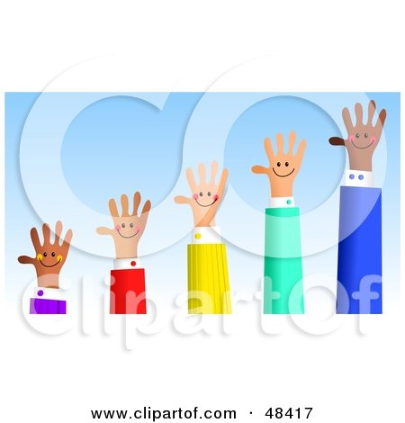 Royalty-Free (RF) Clipart Illustration of a Handy Hand Bar Graph Showing Growth by Prawny