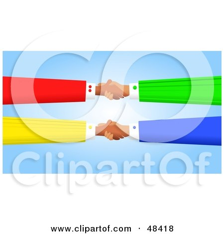 Royalty-Free (RF) Clipart Illustration of Handy Hands Shaking and Double Dealing by Prawny