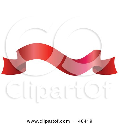 Royalty-Free (RF) Clipart Illustration of a Waving Red Ribbon Banner by AtStockIllustration