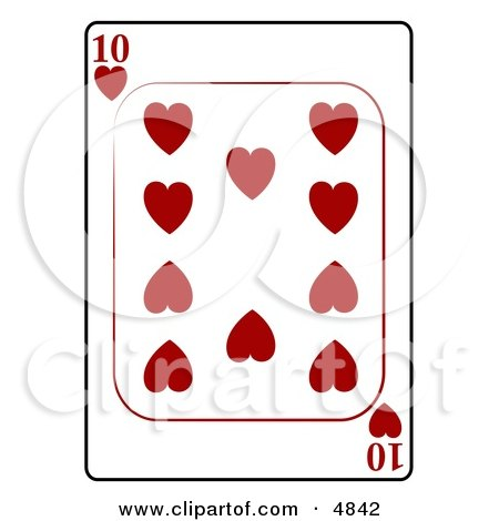 Ten/10 of Hearts Playing Card Clipart by djart
