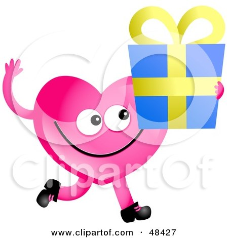 Royalty-free clipart picture of a pink love heart holding a gift,