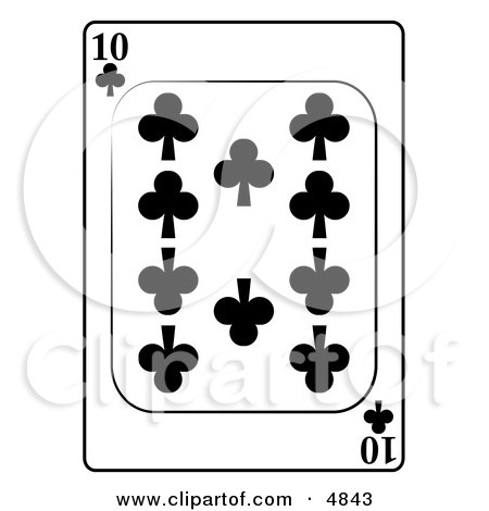 Ten/10 of Clubs Playing Card Clipart by djart