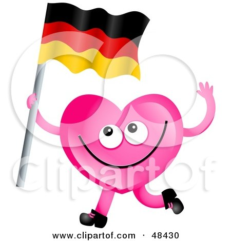 Royalty-free clipart picture of a pink love heart waving a German flag,