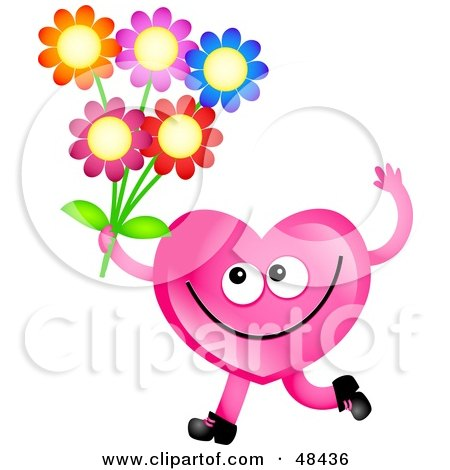 Royalty-Free (RF) Clipart Illustration of a Pink Love Heart Holding Flowers by Prawny