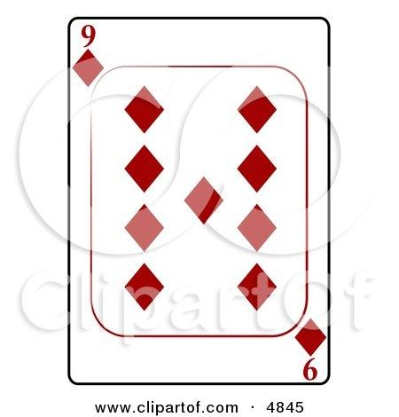 Nine/9 of Diamonds Playing Card Clipart by djart